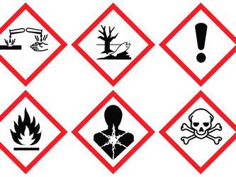 So sehen die neuen Gefahrensymbole aus. Darunter ist auch ein Ausrufezeichen. Es bedeutet etwa: Achtung, das Mittel kann die Augen reizen. Foto: UNECE