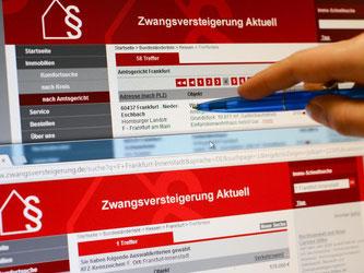 Internetseite mit über Amtsgerichte zwangsversteigerten Immobilien. Foto: Arne Dedert /Archiv/Illustration