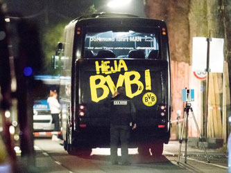 Der Anschlag geschah am 11. April, kurz vor dem Champions-League-Viertelfinalspiel gegen AS Monaco bei der Abfahrt des Busses vom Mannschaftshotel. Foto: Marcel Kusch