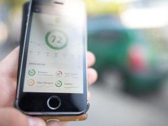 Die Nutzeroberfläche einer App von Telefonica zeichnet die Details zum Fahrprofil des Nutzers auf. Foto: Matthias Balk