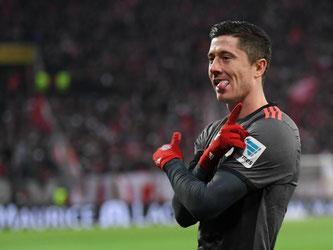 Bayern-Stürmer Robert Lewandowski erzielte zwei Treffer gegen Mainz. Foto: Arne Dedert