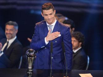 Portugals Fußball-Superstar Cristiano Ronaldo wurde zum vierten Mal als FIFA-Weltfussballer geehrt. Foto: Patrick Seeger