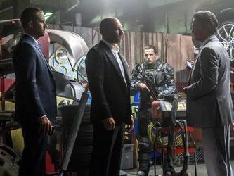 Paul Walker, Vin Diesel und Kurt Russell in einer Szene des Films «Fast & Furious 7» (undatierte Aufnahme). Foto: Universal Pictures