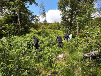 So wie diese Forstwirte das Hochmoor erkunden, sollen es bald auch Touristen machen. Foto: Thomas Frey