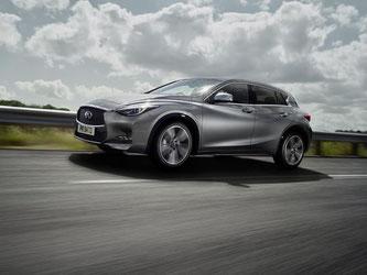 Als Spitzenmodell gibt es den Infiniti Q30 mit einem 2,0-Liter-Turbo, der bis zu 235 km/h auf die Strecke bringt. Foto: Nissan