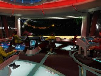 In der Realität sitzen vier Mann in einem Raum, vor ihren Augen erscheint aber dieses Bild. «Star Trek Bridge Crew» ist ein Abenteuer für vier Spieler, die alle eigene Aufgaben übernehmen. Screenshot: Ubisoft Foto: Ubisoft