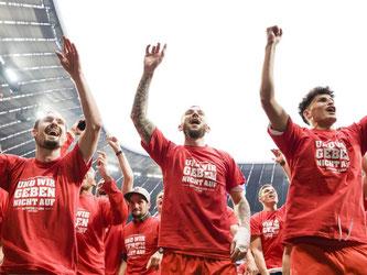 Die Spieler von Jahn Regensburg feiern den Austieg mit ihrn Fans. Foto: Andreas Gebert