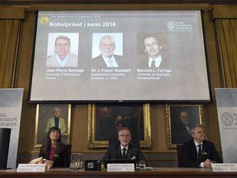 Mitglieder der Königlich-Schwedischen Akademie der Wissenschaften präsentieren die diesjährigen Gewinner des Chemie-Nobelpreises Jean-Pierre Sauvage (l-r auf Leinwand), J. Fraser Stoddart und Bernard L. Feringa. Foto: Henrik Montgomery