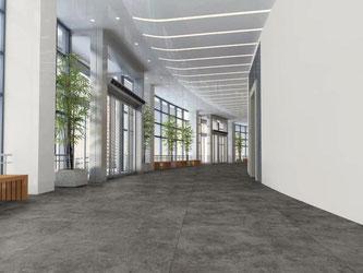 Dieser Designboden der Fonteyn Collection von MFlor Tiles sieht ein bisschen so aus, als bestehe er aus Steinfliesen. Foto: Deutsche Messe