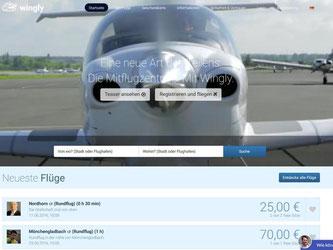 Wohin soll die Reise gehen? Wingly ist eine der Mitflugzentralen, auf der Hobbypiloten ihre Maschinen und Flugrouten teilen. Screenshot: wingly.io Foto: wingly.io