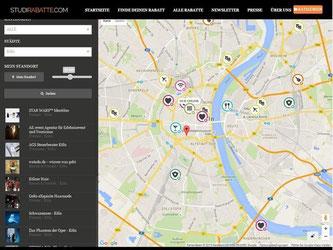 Auf der Webseite «studirabatte.com» erfahren Studenten, welche Firmen und Einrichtungen ihnen ermäßigte Preise anbieten. Foto: www.studirabatte.com