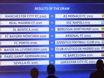 Das Achtelfinale der Champions League im Überblick. Foto: Laurent Gillieron