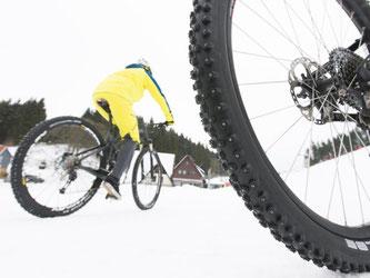 Haftungserweiterung: Grobstolliges Profil und Spikes vergrößeren den Grip von Reifen auf Eis und Schnee. Foto: Kay Tkatzik