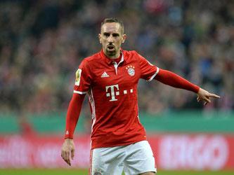 Die Bayern erwarten ein Pokal-Halbfinale gegen Borussia Dortmund. Franck Ribéry: «Das ist immer ein schönes Duell.» Foto: Andreas Gebert