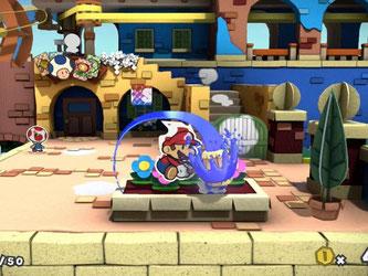 Mit dem Farbhammer geht es in der Papierwelt von «Paper Mario: Color Splash» zur Sache. Screenshot: Nintendo Foto: Nintendo