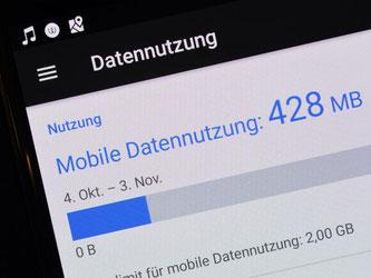 Wie viel vom monatlichen Datenvolumen schon verbraucht ist, sehen Smartphone-Nutzer in den Einstellungen ihres Geräts. Foto: Andrea Warnecke