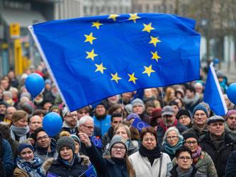 Eine Kundgebungsteilnehmerin schwingt die Europafahne. Foto: Andreas Arnold/Archiv