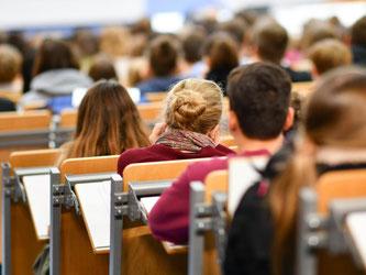 Studenten sitzen in Heidelberg in einem Hörsaal. Foto: Uwe Anspach/Archiv