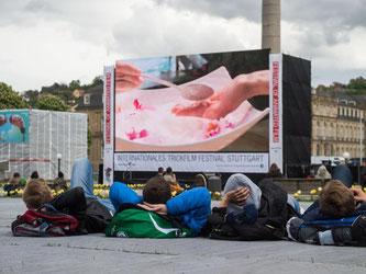 Zuschauer liegen auf dem Schlossplatz in Stuttgart. Foto: Lino Mirgeler/Archiv