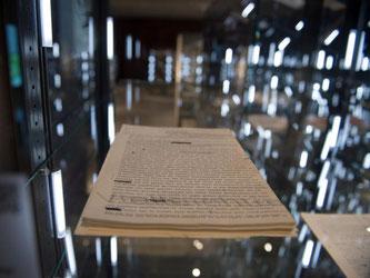 """Das Manuskript zu Thomas Bernhards """"Der Untergeher"""" von 1983 - zu sehen im Literaturmuseum der Moderne in Marbach am Neckar. Foto: Wolfram Kastl"""