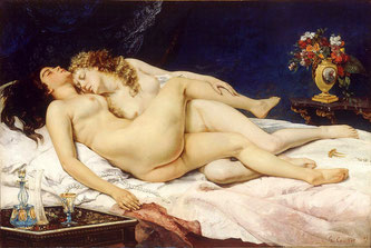Paresse et Luxure, de Gustave Courbet dont le thème natal montre un amas planétaire en Taureau Mercure, Venus et  Mars, ainsi qu'Ascendant Taureau...