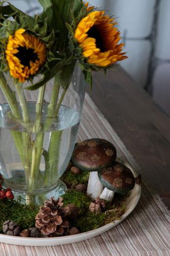 Herbstdeko mit Sonnenblumen