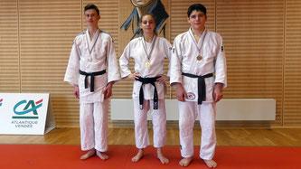 Nos cadets médaillés (de gauche à droite) : Arthur, Jade et Marc
