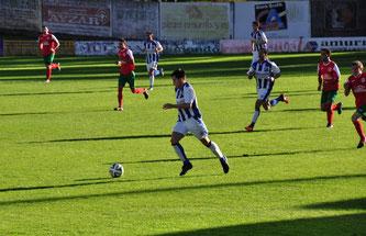 El ex rojiblanco Dani Pérez en un instante del Amurrio 8 - Aranbizkarra 1 disputado esta temporada en Basarte. Foto: www.amurrioclub.es