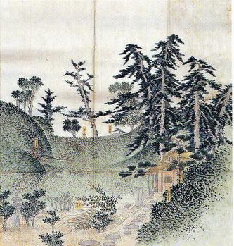 Teeschale auf Kobukusa, Muster: Ueda Giri Kinran
