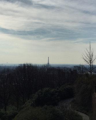 Belvédère de Belleville, vue, Paris, Tour Eiffel