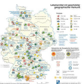 Karte mit geschützen Lebensmittel Deutschland