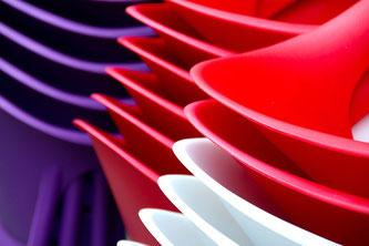 Kunststoff gestapelt mehrere Farben
