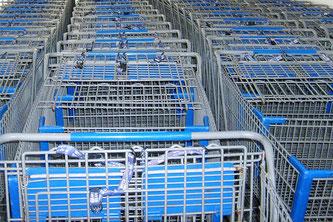 Einkaufswagen blau
