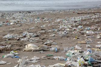 Verschmutzter Strand Plastik