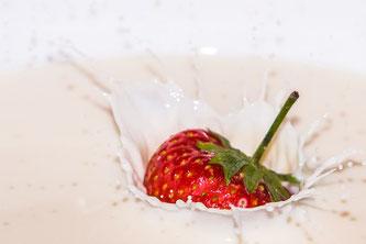 Erdbeere Frucht Milch