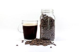 Kaffee Glas Bohnen