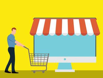 Einkauf online am Bildschirm