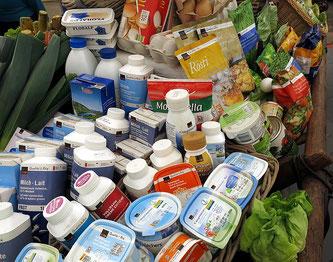 verpackte Milchprodukte