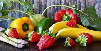 Obst Gemüse Bananen Erdbeeren Spargel Paprika
