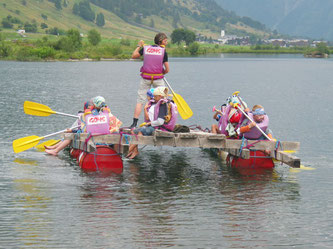 Flossbau, Piratenfest, Teambuilding, Geschiner See, Obergoms, Wallis