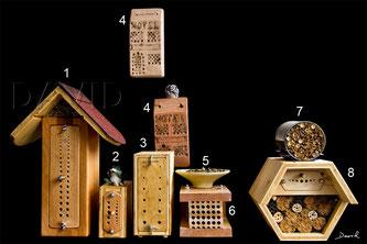 1,2,3, und 8 der Nisthilfen auf meinem Balkon stammen aus dem Sortiment von Herrn Frey