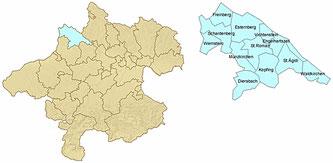 Landkarte der Leaderregion Sauwald (Quelle: Abt. Land- und Forstwirtschaft)