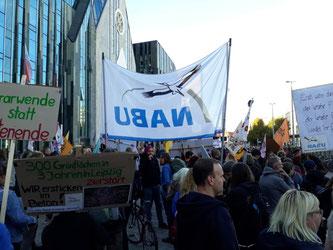 """Der NABU Sachsen führte in der Demonstration den """"Landwirtschaftsblock"""" an und forderte eine Agrarwende für Klimaschutz und Artenvielfalt. Foto: René Sievert"""