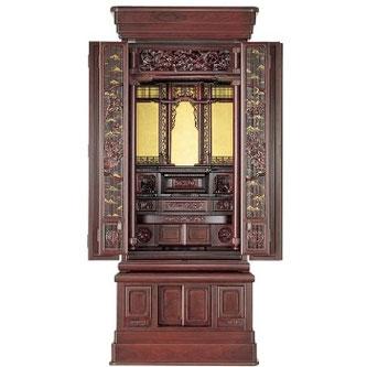 紫檀仏壇「波濤」20号 半間仏間用 直置用 国産