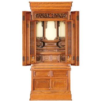 欅仏壇「ゆたか 2型 彫」45-18 欅 明色 半間仏間用 直置用 国産