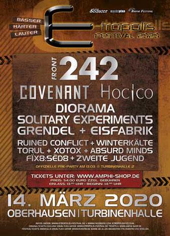 Flyer des E-Tropolis-Festivals 2020.