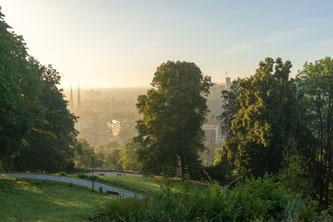Blick vom Johannisberg auf die Stadt Bielefeld mit viel Grün.