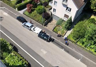 Unfallübersicht (Luftaufnahme) in St.Gallen (Bildquelle: Stadtpolizei St.Gallen)
