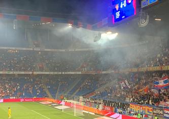 Nichts mehr als eine Erinnerung an glorreiche Europacupauftritte: Basels 4:0 gegen Ujpest Budapest. (Foto DMZ - Straumann)