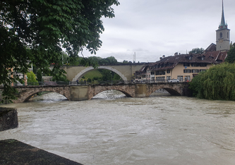 Die hochwasserführende Aare in Bern, (15.07.2021) © BAFU